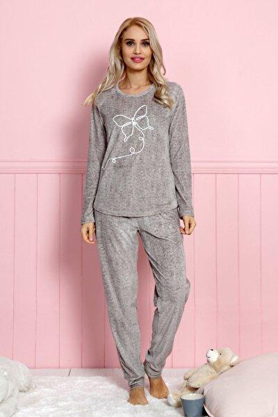 Kadın Gri Uzun Kol Lycralı Kadife Pijama Takım