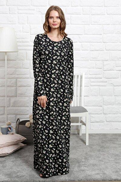 Kadın Siyah Uzun Kol Lycralı Suprem Ev Elbisesi