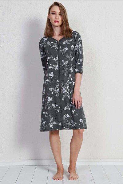 Kadın Gri 3/4 Kol Penye Suprem Ev Elbisesi