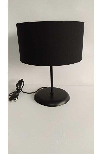 Dekoratif Metal Abajur Siyah Kumaş Şapka