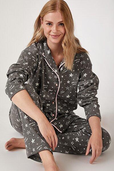 Kadın Antrasit Desenli Örme Pijama Takımı GL00022