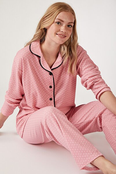 Kadın Canlı Pembe Puantiyeli Örme Pijama Takımı GL00021
