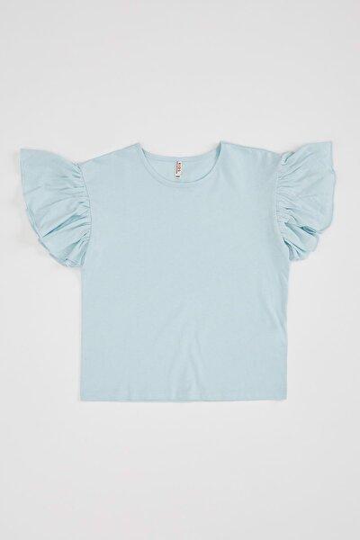 Kız Çocuk Volanlı Kısa Kol Tişört
