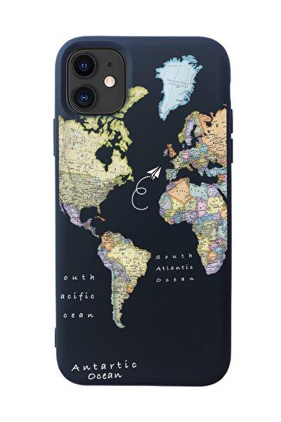 Harita Tasarımlı Siyah Lansman Kılıf Iphone 11