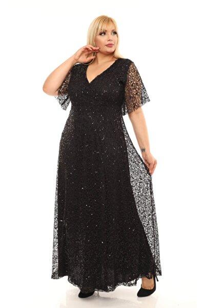 Kadın Siyah Payetli Abiye Elbise