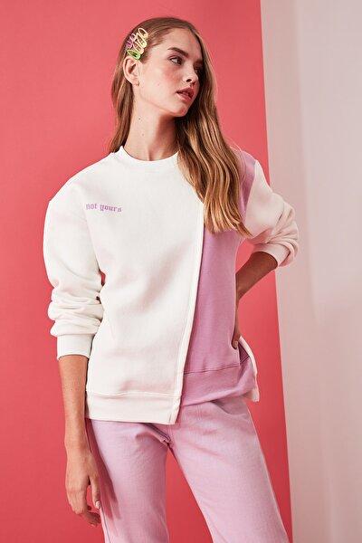 Beyaz Ön ve Sırt Baskılı Basic Örme Şardonlu Sweatshirt TWOAW21SW0150