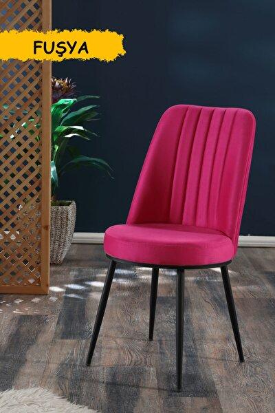 Gold Sandalye Fuşya - Metal Siyah Ayaklı