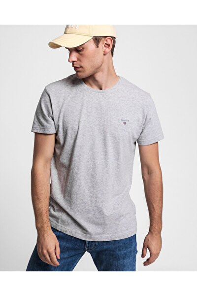 Erkek Gri Melanj Regular Fit T-shirt