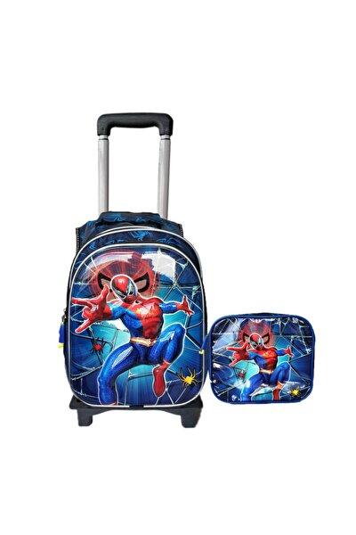 Entegre Çekçekli Ilkokul Çantası 5d Parlak Beslenme Çantalı Ayrılan Çekçekli Spiderman