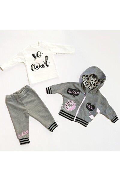 Kız Bebek Gri 3'lü Takım