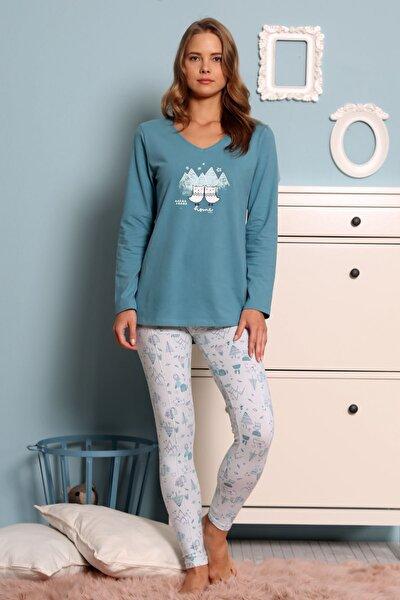Kadın Gümüş Çam Uzun Kol Lycralı 2 Iplık Taytlı Pijama Takım