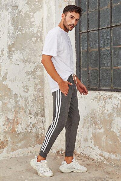 Erkek Antrasit Şeritli Üç Çizgi Dar Paça Jogger Eşofman Altı