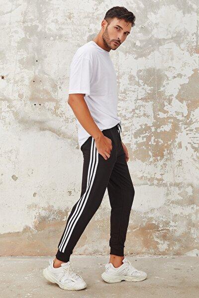 Erkek Siyah Şeritli Üç Çizgi Dar Paça Jogger Eşofman Altı