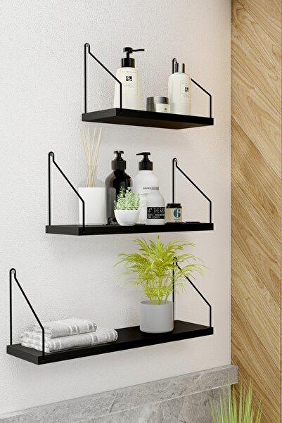 Duvar Rafı 3'lü Set Kitaplık Mutfak Banyo Yaşam Alanı Siyah Su Terazisi Hediyeli