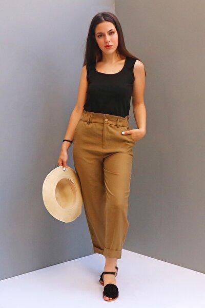 Kadın Haki-Camel Keten Yüksek Bel Pantolon