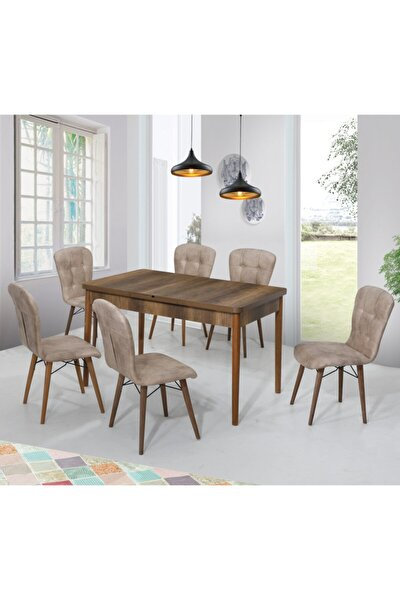 Incebelli Kahverengi Masa Ve Sandalye Takımı