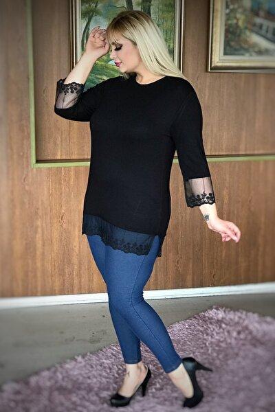 Kadın Siyah Büyük Beden Kolları Eteği Tüllü Lı Viskon Bluz