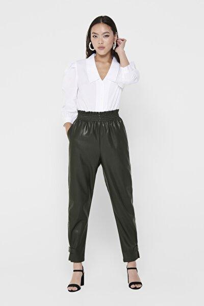 Kadın Yeşil Paça Detaylı Paperbag Suni Deri Pantolon 15208701 ONLDAVINA