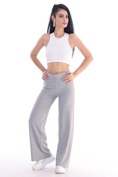 Kadın Gri Kaşkorse Fitilli Örme Pantolon