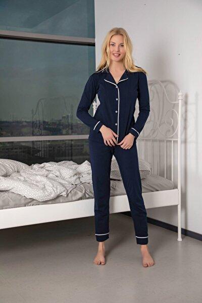 Kadın Lacivert Pamuklu Likralı Düğmeli Biyeli Pijama Takımı