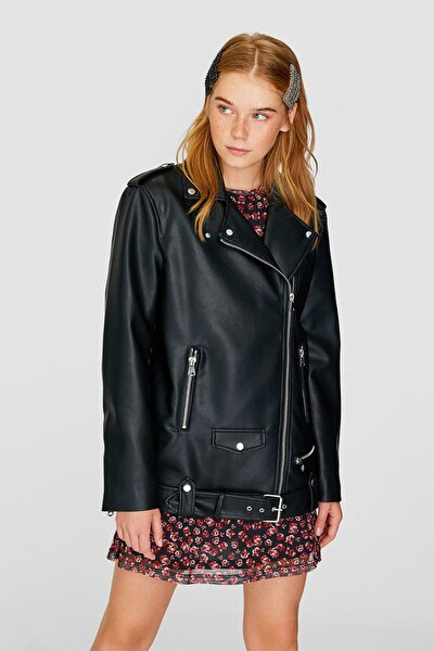 Kadın Siyah Oversize Biker Ceket 05724030
