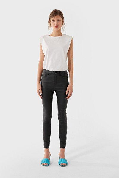 Kadın Siyah Kaplamalı Yüksek Bel Pantolon 04509721