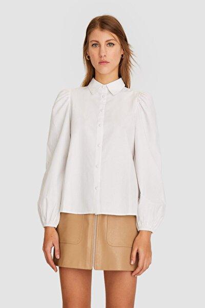 Kadın Beyaz Balon Kollu Poplin Gömlek 02045780
