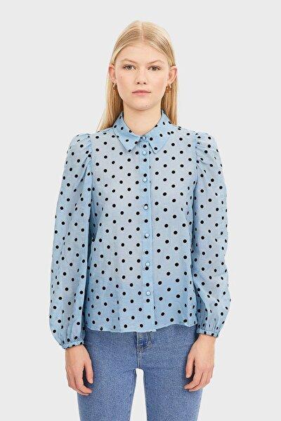 Kadın Gök Mavisi Balon Kollu Gömlek 02045457