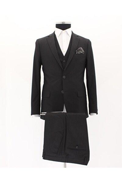 Erkek Siyah Slim Fit Takım Elbise