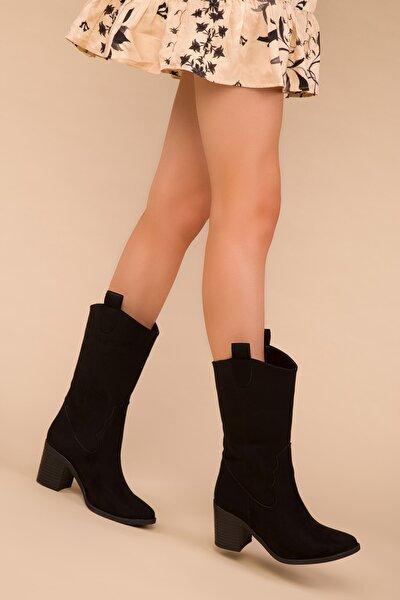 Siyah Süet Kadın Çizme 15300