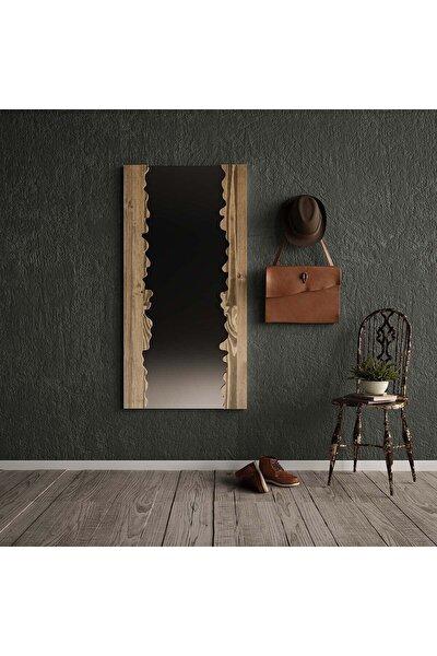 Masif Ağaç Ceviz Renk 120x60 Cm Boy Aynası