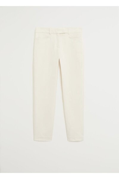 Kadın Kırık Beyaz Kısa Koton Pantolon