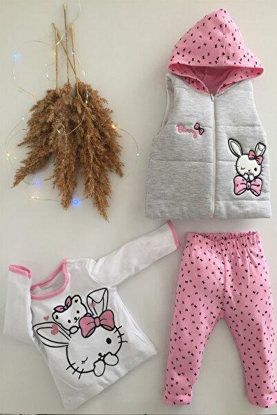 Kız Bebek Çocuk Alt Üst Yelek Bunny 3 Parça Takım 6-12-18 Ay