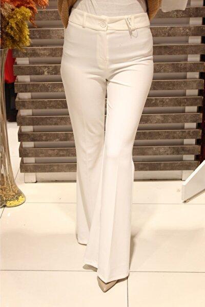 Kadın Ekru Zincir Kemerli Ispanyol Pantolon