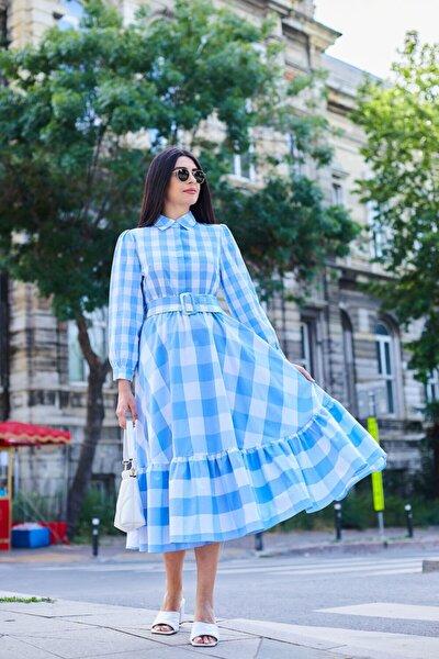 Kadın Mavi Kareli Uzun Elbise