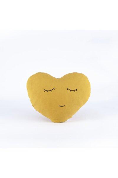 Organik Müslin Kalp Yastık Hardal