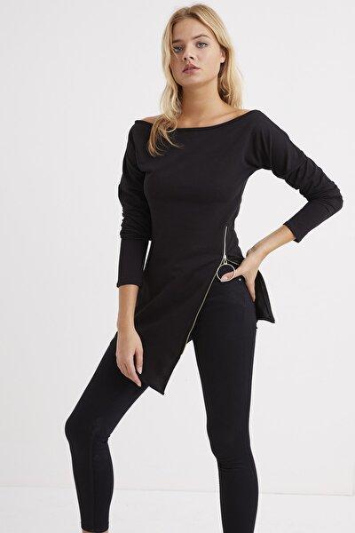 Kadın Siyah Yandan Fermuarlı Kayık Yaka Elbise B157