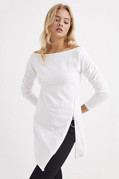 Kadın Beyaz Yandan Fermuarlı Kayık Yaka Elbise B157