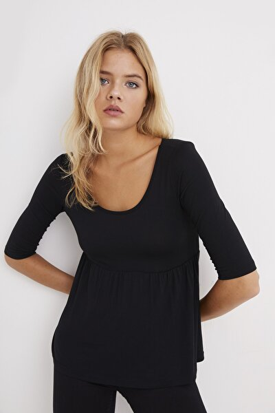 Kadın Siyah Eteği Volanlı Bluz B154
