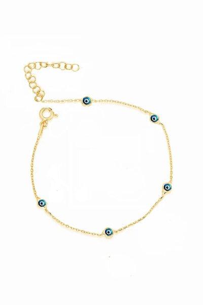 Gümüş Yaldızlı Mavi Mineli Nazar Boncuklu Tiffany Zincir Halhal