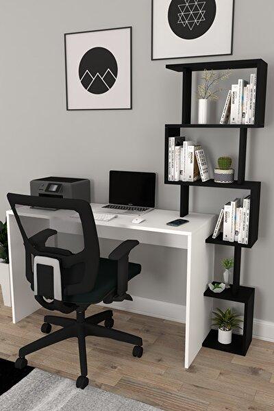 120x50 Pratik Kitaplıklı Çalışma Masası Beyaz Siyah