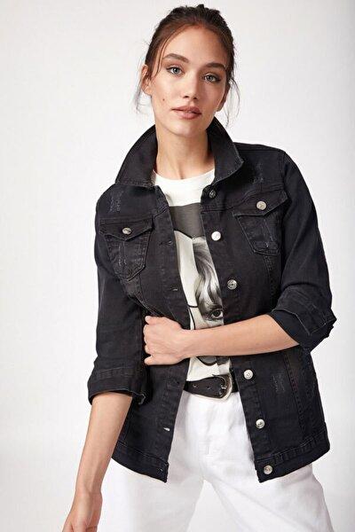 Kadın Siyah Yırtıklı Kot Ceket 0616