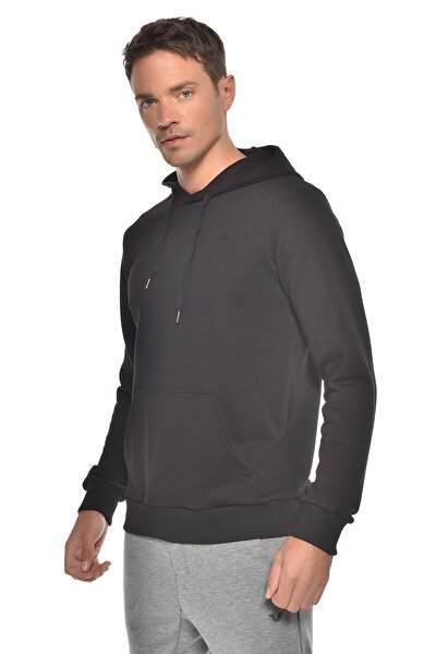 Siyah Erkek Kapüşonlu Sweatshırt GW-8755