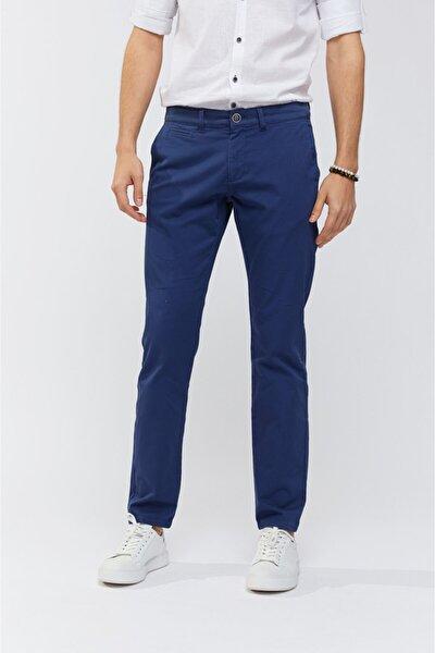 Erkek İndigo Yandan Cepli Düz Slim Fit Pantolon A91B3556