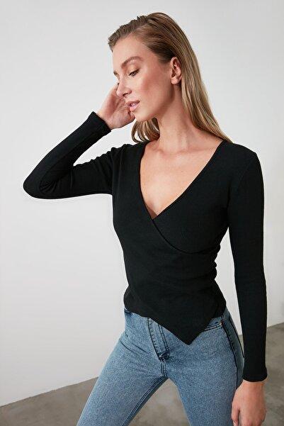Siyah Kruvaze Örme Bluz TWOAW21BZ1274