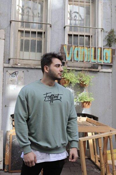 Erkek Haki Önü Nakış Baskılı Oversize Sweatshirt