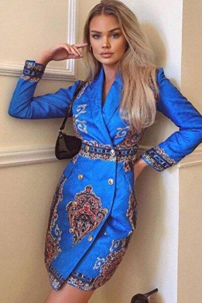 Kadın Saks Mavisi Desenli Ceket Elbise