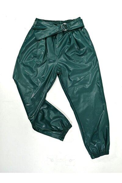 Kız Çocuk Yeşil Deri Pantalon