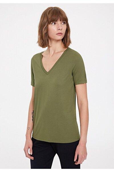 Kadın Haki V Yaka T-shirt