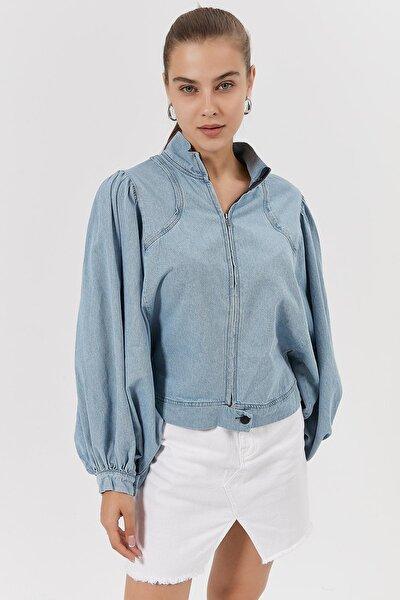 Kadın Balon Kollu Fermuarlı Kot Gömlek Y20w115-2590